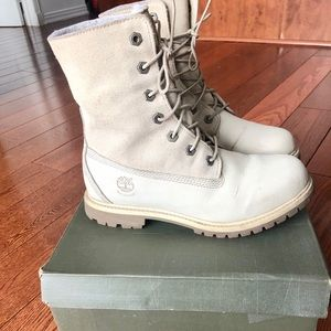 Timberland tedy fleece white boots used condition